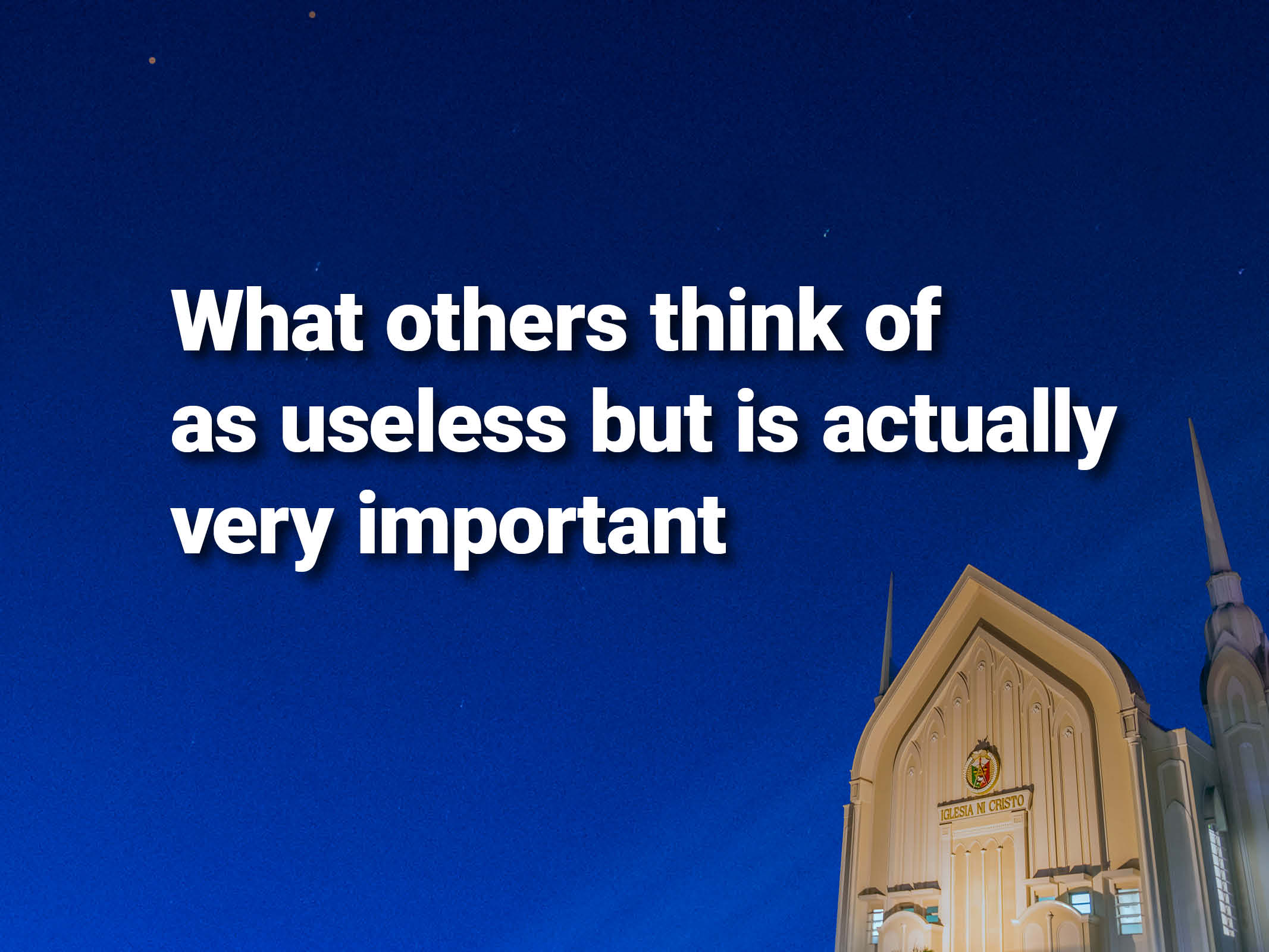 What others think of as useless but is actually very important