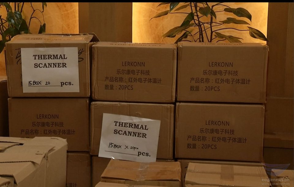 Boxes of thermal scanners which are just part of the personal protective equipment (PPEs) and other hospital needs donated by the Iglesia Ni Cristo to the Quezon City government on Saturday, April 4, 2020. The INC donated some P13.2 million worth of PPEs, medical supplies for frontliners battling COVID-19 in Quezon City. (Eagle News Service)