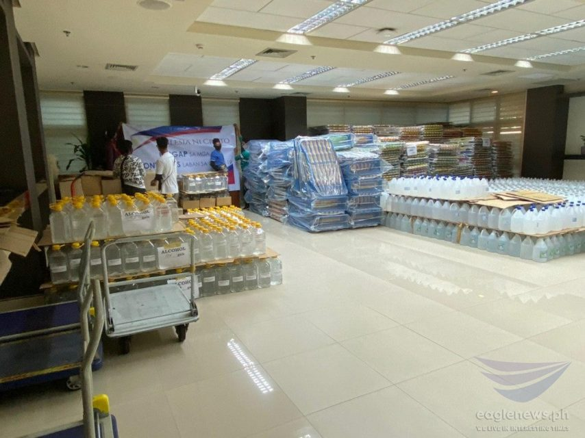 Part of the personal protective equipment and other hospital needs donated by the Iglesia Ni Cristo to the Quezon City government. The INC donated some P13.2 million worth of PPEs, medical supplies for frontliners battling COVID-19 in Quezon City. (Eagle News Service)